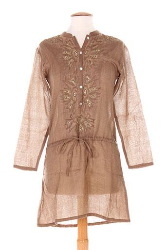 Robe mi-longue marron CHRISTOPHE SAUVAT pour femme