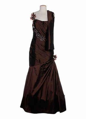 Robe longue marron CREATIF PARIS pour femme
