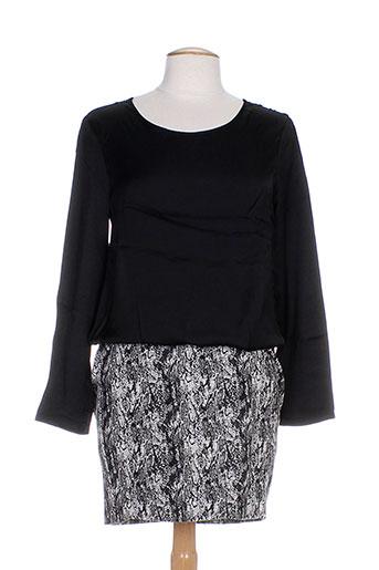 Robe mi-longue noir COLOR BLOCK pour femme