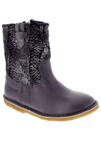 kickers boots fille de couleur gris