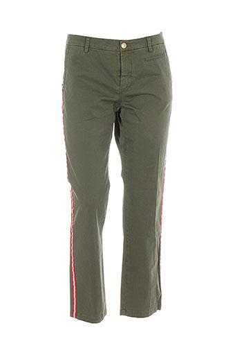 femme by michele rossi pantalons femme de couleur vert