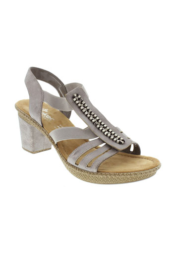 rieker sandales et nu et pieds femme de couleur gris