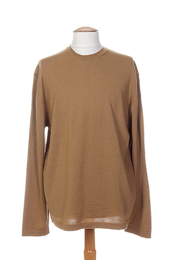 Pull col rond marron ROBERTO COLLINA pour homme