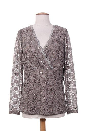 vera mont chemises femme de couleur gris