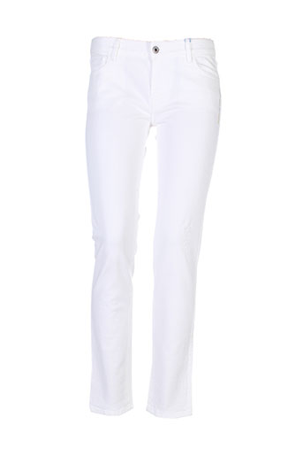 pianurastudio pantalons femme de couleur blanc