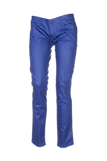 place et du et jour pantalons et decontractes femme de couleur bleu