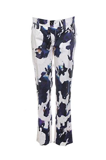 high pantalons femme de couleur bleu