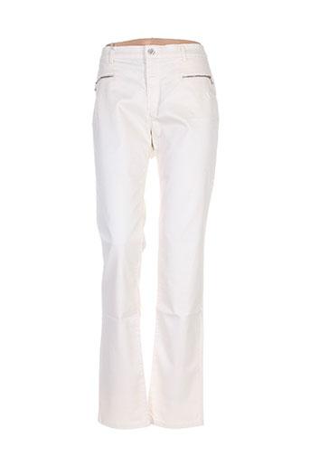 bruno saint hilaire pantalons femme de couleur beige