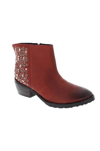 any boots chaussures femme de couleur rouge