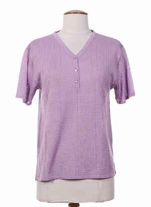 Pull col V violet ELEANE pour femme