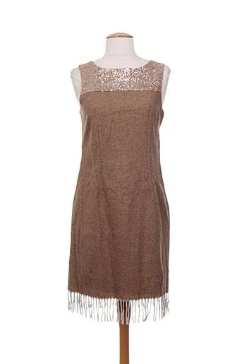 Robe courte marron CHARABIA pour femme