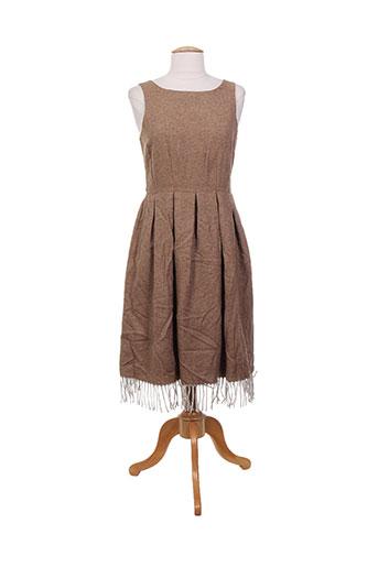 Robe mi-longue marron CHARABIA pour femme