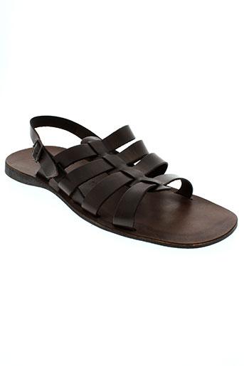 zeus sandales et nu et pieds homme de couleur marron
