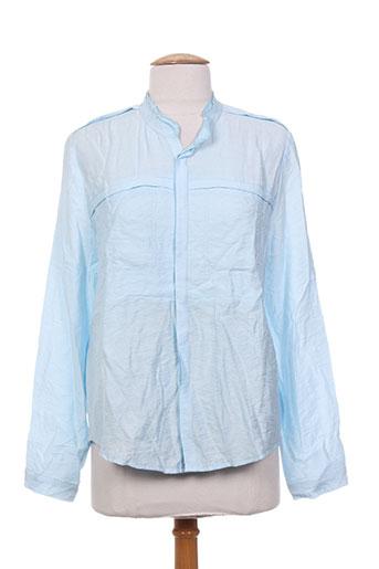 ryujee chemises femme de couleur bleu