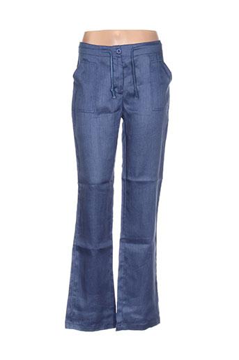 acbelle pantalons femme de couleur bleu
