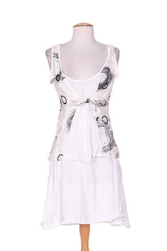 double jeu robes femme de couleur blanc
