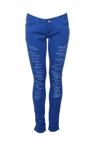blue rags pantalons femme de couleur bleu