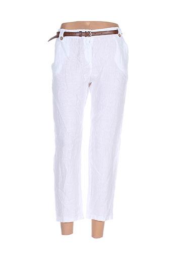 puro lino pantacourts femme de couleur blanc