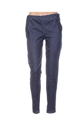 unica pantalons femme de couleur bleu