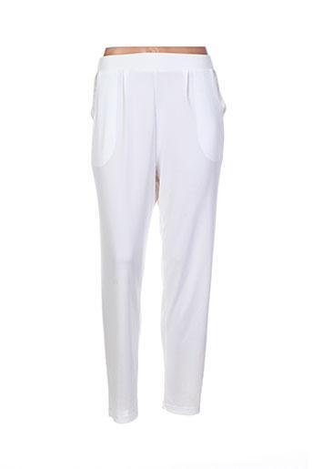 mila cento pantalons femme de couleur blanc