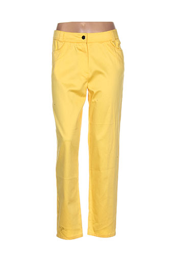 pause cafe pantalons femme de couleur jaune