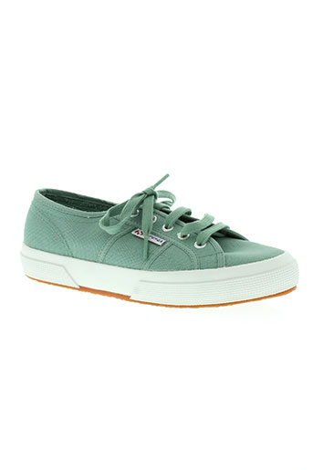 superga chaussures femme de couleur vert