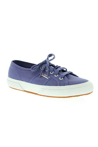 superga chaussures femme de couleur bleu