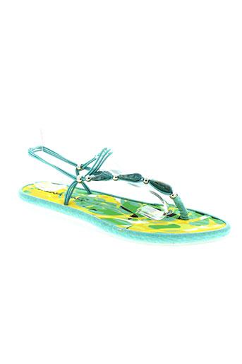 string tong chaussures femme de couleur vert