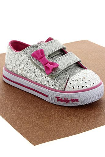 skechers chaussures fille de couleur gris