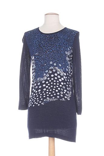 Pull tunique bleu WEINBERG pour femme