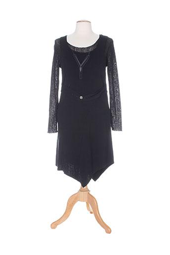 Robe mi-longue noir CATY LESCA pour femme