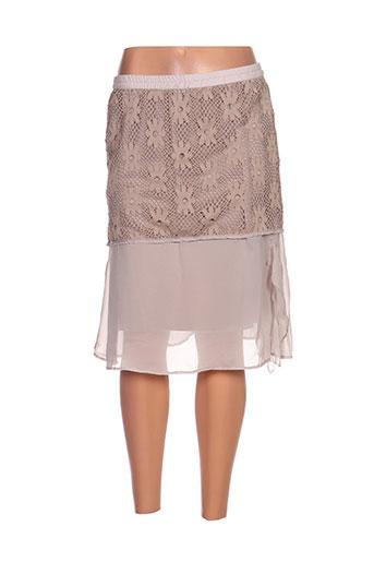 Jupe mi-longue beige CATY LESCA pour femme