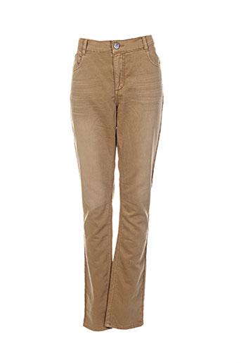 beckaro pantalons femme de couleur beige