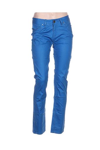 american city pantalons femme de couleur bleu