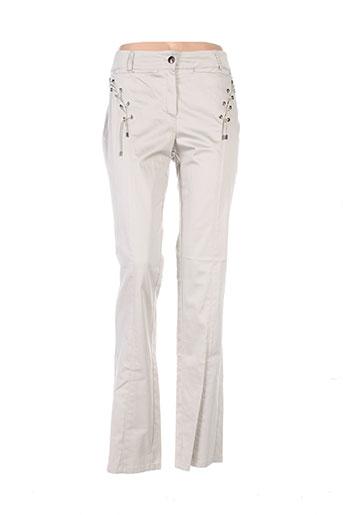 nathalie chaize pantalons femme de couleur beige