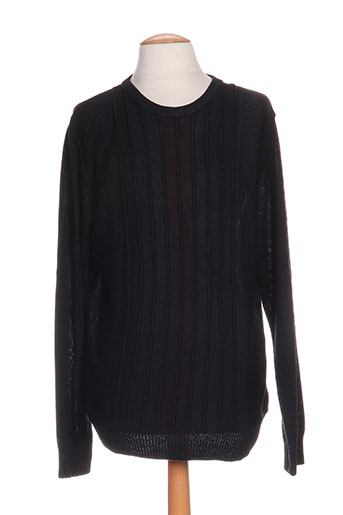 Pull col rond noir MONTE CARLO pour homme