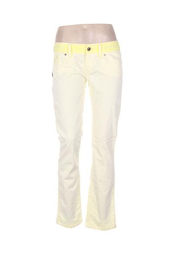 freesoul pantalons femme de couleur jaune