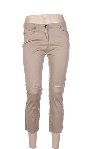 luizacco pantalons femme de couleur beige