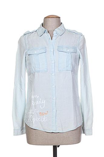esqualo chemises femme de couleur bleu