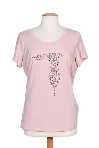trussardi jeans t-shirts femme de couleur rose