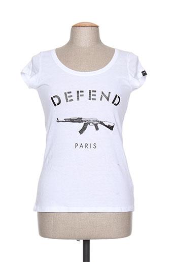 defend t-shirts femme de couleur blanc