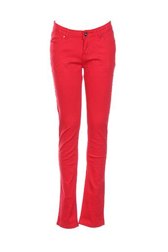 naava pantalons fille de couleur rouge