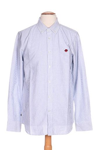 obey chemises homme de couleur bleu