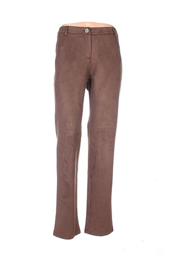 chemins blancs pantalons femme de couleur marron