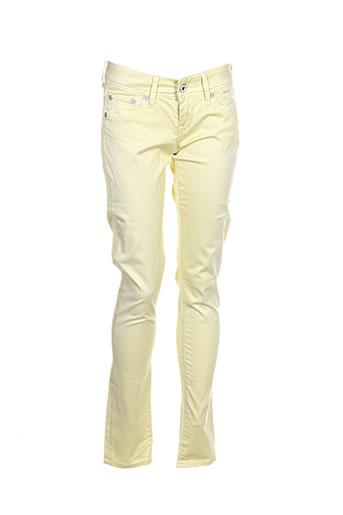 pepe jeans pantalons femme de couleur jaune