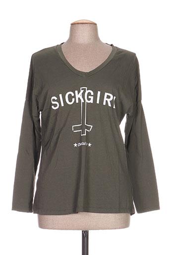 T-shirt manches longues vert CHANTAL B. pour femme