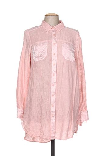 la stampa chemises femme de couleur rose