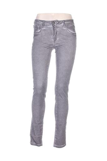 Jeans coupe slim gris BONES OF GLORY pour femme
