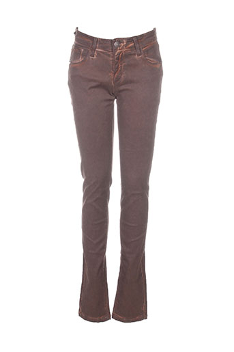 Jeans coupe slim marron BONES OF GLORY pour femme