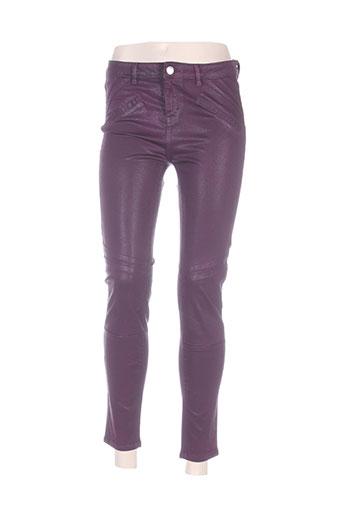 morgan pantalons femme de couleur violet